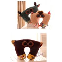 HWD可爱原创意个性动物 猫头鹰小鹿毛绒卡通U型护颈枕 办公室靠垫