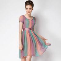欧洲站2014夏季新款 欧美大牌真丝七色彩虹大码装连衣裙女