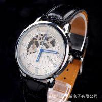 外贸新EBAY热卖 机械表 瑞士男士透明镂空皮带手表 高档休闲 手表