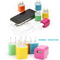 USB充电器插头 多色苹果手机充电器插头 usb电源插头