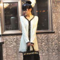 LS波 浪花边2014秋冬季新款韩版女装长款长袖蕾丝连衣裙