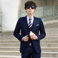 男士韩版修身西服套装新款结婚新郎礼服休闲正装三件套