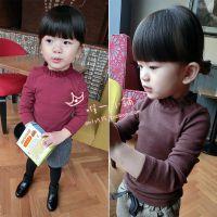 新款 2014秋装 女童小童宝宝半高领打底衫立领螺纹高弹力欧美