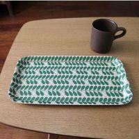 北欧茶盘 (绿色)树叶形托盘面包盘子 zakka 杂货
