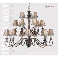 欧式灯具 简约仿古卧室客厅餐厅灯 高档铁艺树脂18头三层布艺吊灯