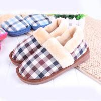 供应侧缝方格子舒适棉鞋冬季保暖防滑包跟室内家居棉拖鞋支持混批