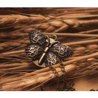 韩版饰品毛衣挂件卡通手表 装饰手表 古铜怀表 古铜蝴蝶挂链表