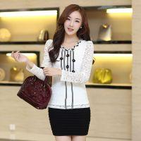 2014秋装新款韩版女装钉珠花朵蕾丝打底衫