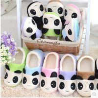 包邮冬季新款熊猫卡通棉拖鞋 包跟男女软底保暖居家拖鞋月子鞋