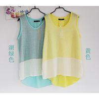 2014年夏季新款衬衫 镂空撞色拼接工艺  圆领无袖雪纺打底衫