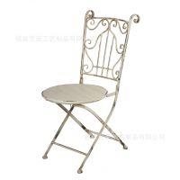 美式复古铁艺椅子 铁艺家具阳台圆桌靠背椅 室外休闲椅子做旧处理