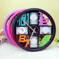 热卖圆形数字(4个3寸相)挂钟 创意挂钟 工艺钟 卡通装饰品7305