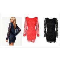 速卖通新品蕾丝雪纺拼接时尚露背连衣裙 ebay热卖爆款 女装