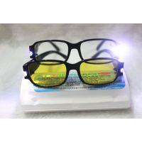 地摊热卖带灯平光镜 纳光增视明目镜 验钞眼镜 防辐射眼镜
