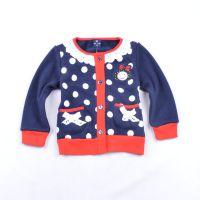 新款外贸童装批发 圆点花领加绒女童针织衫 保暖韩版开衫外套