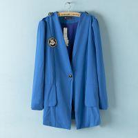 F2外贸原单大码女装胖mm秋装新款拼接雪纺前后图标装饰西装外套