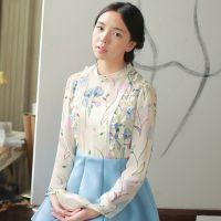 春装新款女装雪纺衫韩版长袖打底衫木耳边立领碎花打底衬衫W83200