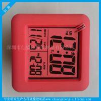 七彩色背光 可发光的七彩静音LCD闹钟 塑胶材质电子闹钟