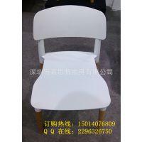 嘉思特家具厂家批发休闲餐椅 木脚塑胶椅 白色塑料椅子