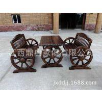 户外休闲桌椅厂家 碳化木车轮椅子 防腐木车轮桌 仿古餐厅桌子