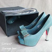 居家简约风格 灰色无纺布PVC魔术贴折叠式储物盒整理箱鞋盒