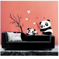 【国宝熊猫】客厅卧室背景电视装饰 玻璃贴 三代可移除墙贴JM8243