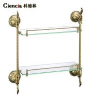 BH095J 全铜欧式雕花双层置物架浴室挂件  玻璃卫浴五金挂件 开平