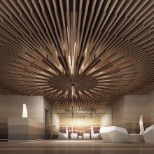 供应艺术吊顶幕墙装饰金属建材仿木头铝单板吊顶铝幕墙材料厂家