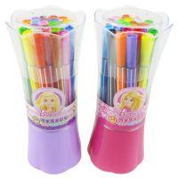 新款正品授权迪士尼 花束筒装芭比水彩笔 24色可洗水彩笔 BL8157