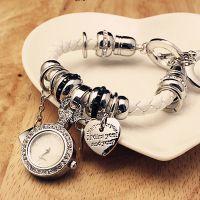 欧美时尚个性编织皮带水钻手表 镶钻时装手链表吊坠表 厂家直销