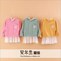 青岛童装 2014韩版秋装新款 女童蕾丝拼接长袖t恤打底衫儿童上衣