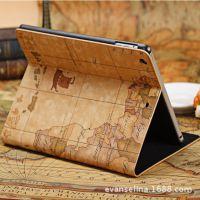 苹果ipad2 3 4 皮套超薄地图 ipadmini2保护套真皮ipad air休眠