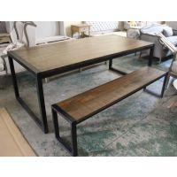 美式乡村复古设计 铁艺实木办公餐厅桌椅 电脑桌 外贸原单 可定做