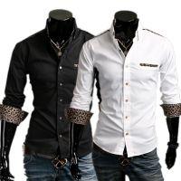 外贸EABY速卖通批发  男士个性豹纹装饰休闲长袖衬衫8623
