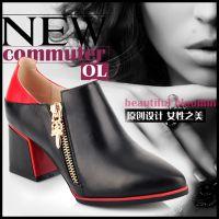 女鞋外贸原单秋新款女鞋 欧美舒适拼色牛皮套脚单鞋 高跟鞋代理
