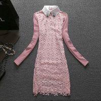 2015年春装新款 韩版修身中长款蕾丝打底衫女货真价实批发