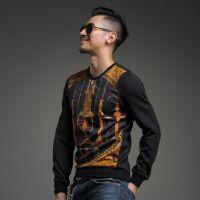 2014新款秋冬季潮男士长袖T恤 卫衣 韩版印花加厚保暖打底衫3366