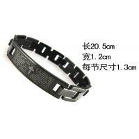 专供外贸出口 2014韩国个性钛钢时尚全黑圣经手链 不锈钢男士手链