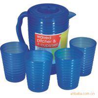 2506-1 塑料水具套装4杯子/螺纹冷水壶冷水具/4件套塑料水壶