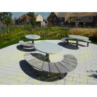 广场钢木椅 桌椅组合产品 座椅设计制造厂家