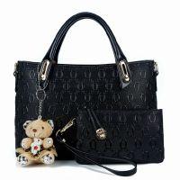 供应亚妮梦奴秋冬季新款韩版包包压花女包手提包 小熊挂件女士包包