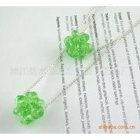 供应韩版、简约风尚球形水晶毛衣链