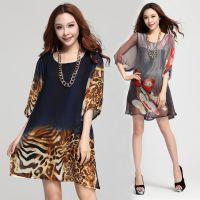 X30619 韩版春装新款外贸女装五分灯笼袖 宽松豹纹雪纺大码连衣裙