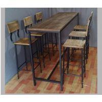 批发美式乡村复古做旧实木铁艺餐桌饭桌酒吧桌办公桌酒店桌长方形