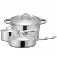 [汤锅煎锅蒸锅]  爱仕达欧式不锈钢直角复底锅具 三件套LQ03TNJ