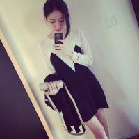 【YESWOMEN】小宜定制秋冬装女装新款 拼色羊毛针织连衣裙