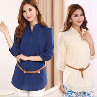 2014秋季新款韩版修身中长款雪纺衫短袖大码女装雪纺上衣打底衫