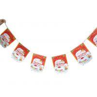 圣诞挂件吊饰挂旗拉旗拉条彩旗串旗 圣诞老人挂旗