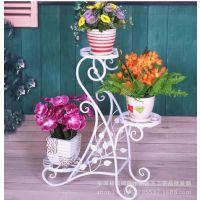 欧式铁艺花架 落地式客厅室内三层花盆架 植物架多层盆景架现货