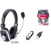 供应正品情声825 USB接口头戴式耳机 带麦克风 时尚高档耳机耳麦